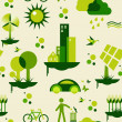 Green city pattern — Stock Vector