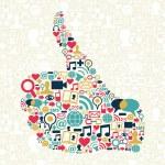 Thumb up Social media icons texture — Stock Vector #11925053