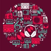 Dj Music icons circle — Stock Vector