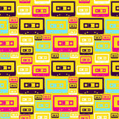 Retro pop audio tapes pattern — Stock Vector
