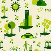 Yeşil şehir desen — Stok Vektör