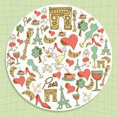 Travel Paris icon set circle — Vecteur