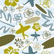 Summer Surfing seamless pattern — Stock Vector