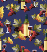 Bottle and glass wine seamless pattern — Stock Vector