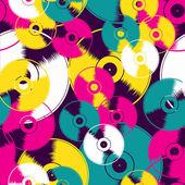 Vinyl retro seamless pattern — Stock Vector
