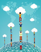 Cloud computing global success — Stock Vector