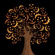 Halloween horror icons tree — Image vectorielle