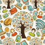 Social media icons tree pattern — Stock Vector