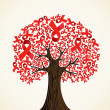 Stock Vector: AIDS ribbon tree