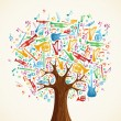Abstract musical tree made with instruments — Stock vektor