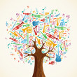 Abstract musical tree made with instruments - Stock Vector