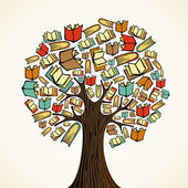 Education concept tree with books — Vector de stock