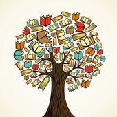 Vzdělávací koncepce strom s knihami — Stock vektor