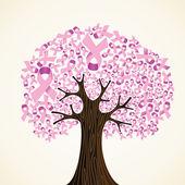 Arbre de ruban pour le cancer du sein — Vecteur