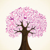 Borst kanker lint boom — Stockvector