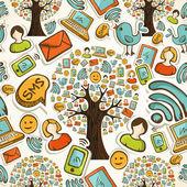 Sosyal medya icons ağaç desen — Stok Vektör