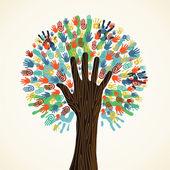 Różnorodność na białym tle drzewa ręce — Wektor stockowy