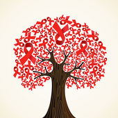 Aids nastro albero — Vettoriale Stock