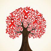 AIDS ribbon tree — Stock Vector