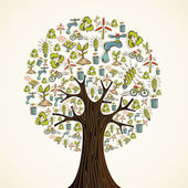Groene pictogrammen boom gaan — Stockvector