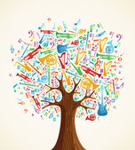 Abstract musical tree made with instruments — Stock Vector