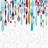 餐具剪影图标背景 — 图库矢量图片