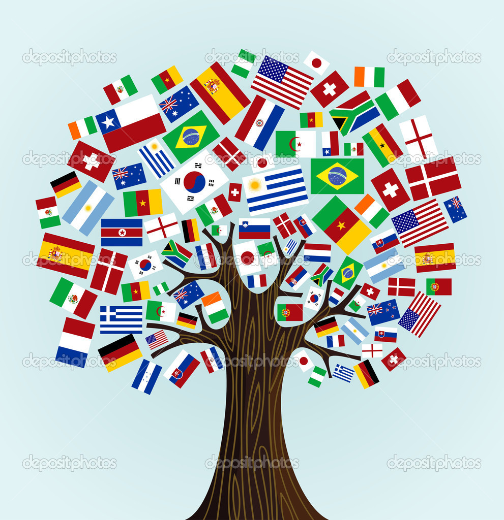 Art Design International : Flags of the world tree — stock vector cienpies