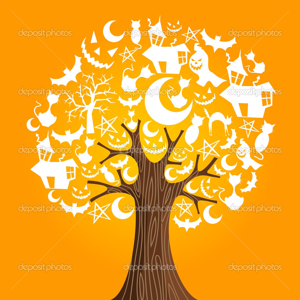 Halloween tree icons background. Vector illustration layered for easy manipulation and custom coloring. — Stock Vector #12124728