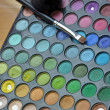 Colorful eye makeup tray — Stock Photo