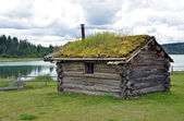 Little cabin with sod roof — Stock Photo