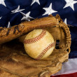 Baseball and American Flag — Stock Photo #10952331