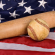 Old Baseball and Bat with American Flag — Stock Photo #10952338