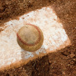 Baseball on Pitching Rubber — Stock Photo #10952745