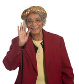 Old African American Woman Waving — Stock Photo