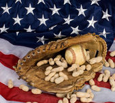 Baseball and American Flag — Stock Photo