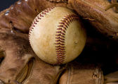 Old Baseball and glove — Stock Photo