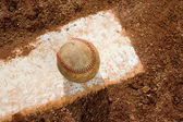 Baseball on Pitching Rubber — Stock Photo