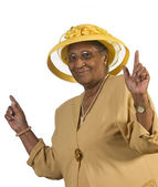 Happy Old Woman Dancing — Stock Photo