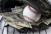 Business of baseball and money — Stock Photo