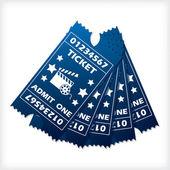 Five blue ticket set spreaded — Stock Vector