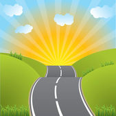 Rroad heading to sunset — Stock Vector