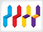 Bunte gebogenen multifunktionsleiste satz von vier — Stockvektor