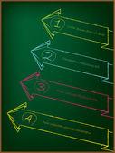Advertising arrow label set on chalkboard — Stock Vector