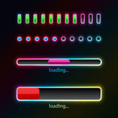 Pprogress bars with neon glow — 图库矢量图片