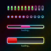Pprogress bars with neon glow — Stock Vector