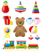 Icon of toys and accessories for babies and children — Stock Vector