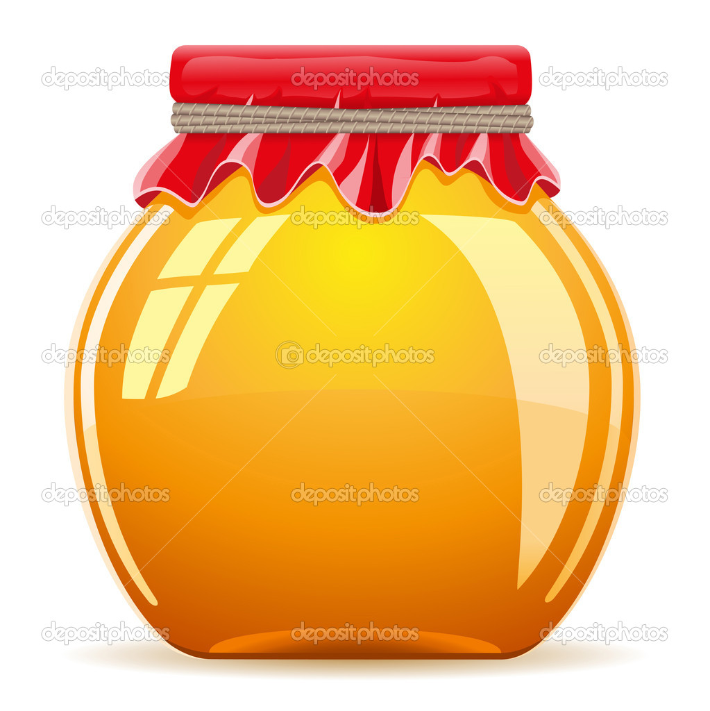 Honey in the pot with a red cover vector illustration isolated on white background — ベクター素材ストック #11673235