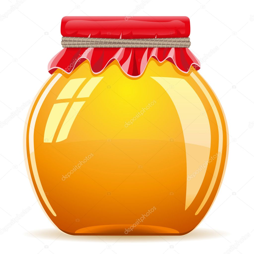 Honey in the pot with a red cover vector illustration isolated on white background — Векторная иллюстрация #11673235