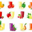 Set of icons with fruit juice illustration — Stock Photo