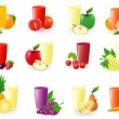 Stock Photo: Set of icons with fruit juice illustration